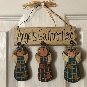 "Adorable ""Angels Gather Here"" sign"